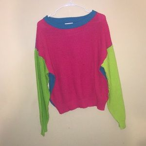 Vintage style chunky knit color block sweater Sz S